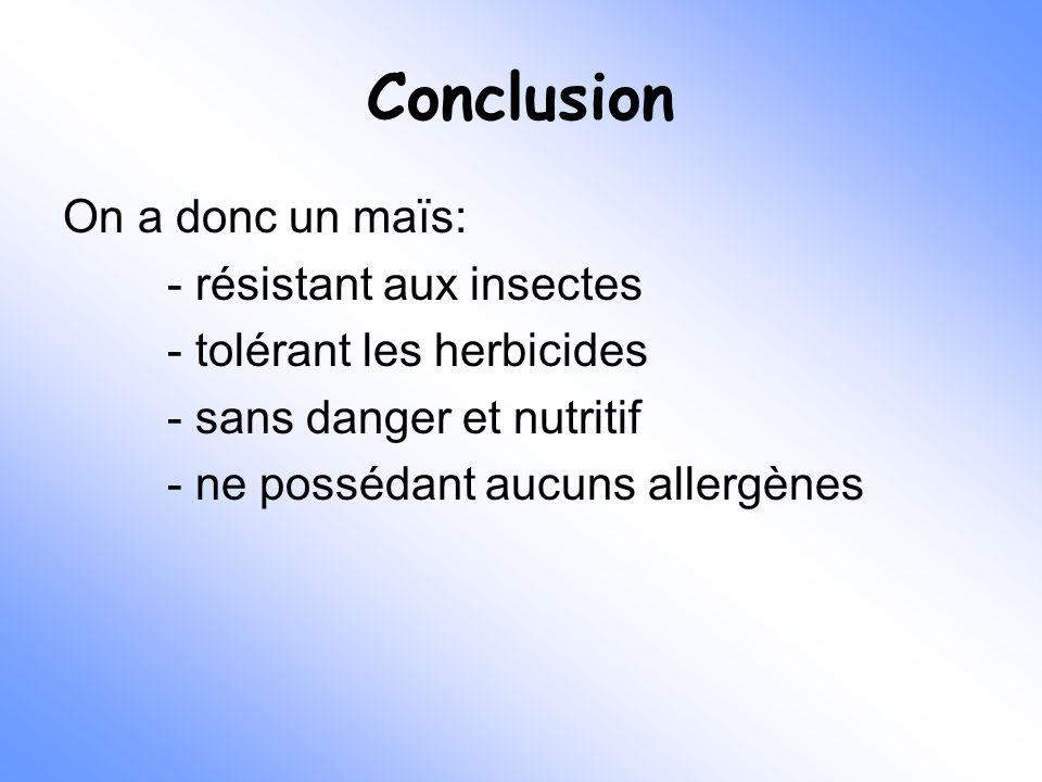 Conclusion On a donc un maïs: - résistant aux insectes