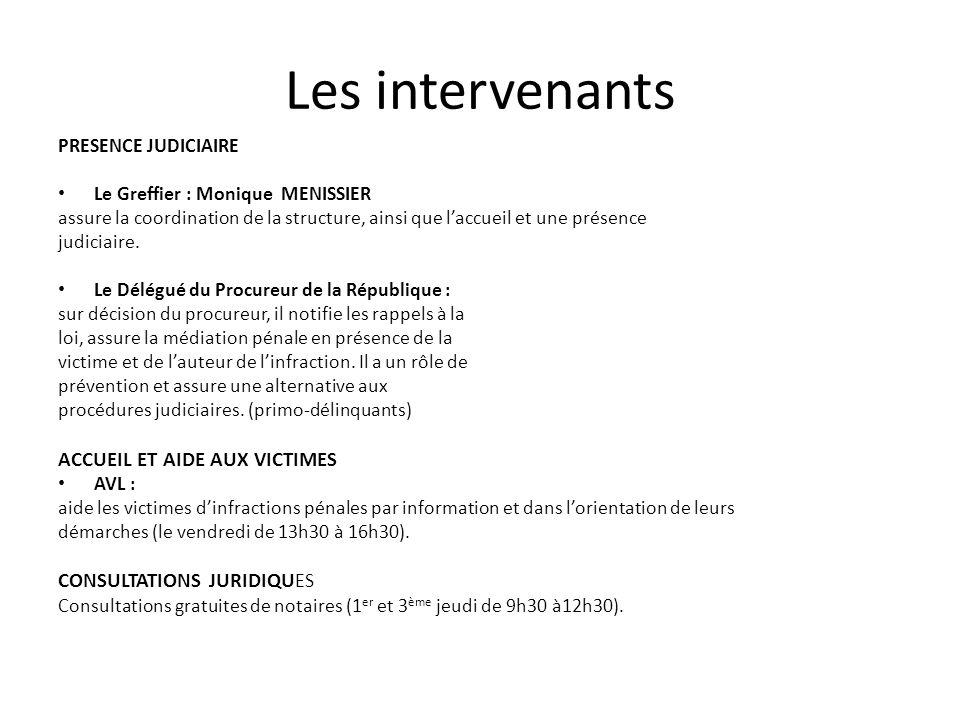 Les intervenants ACCUEIL ET AIDE AUX VICTIMES CONSULTATIONS JURIDIQUES