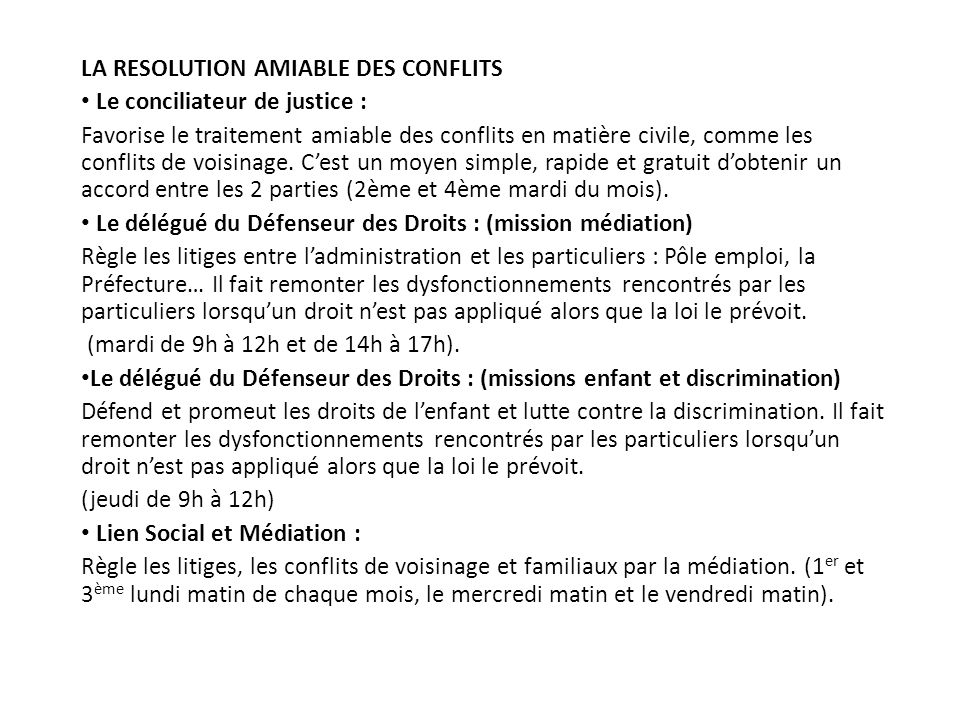 LA RESOLUTION AMIABLE DES CONFLITS