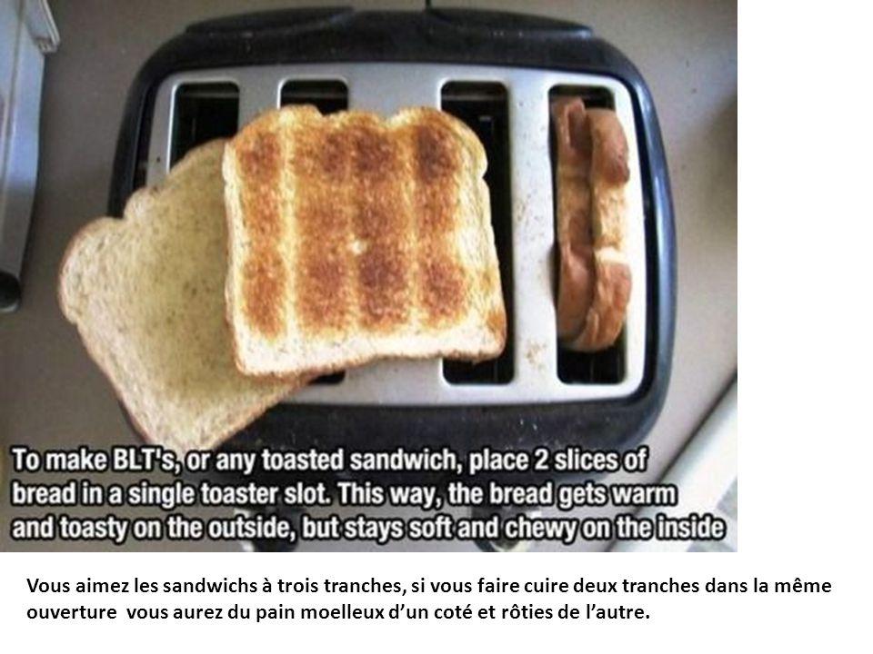 Vous aimez les sandwichs à trois tranches, si vous faire cuire deux tranches dans la même ouverture vous aurez du pain moelleux d'un coté et rôties de l'autre.