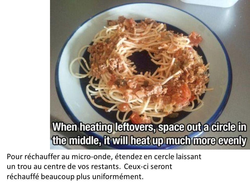 Pour réchauffer au micro-onde, étendez en cercle laissant un trou au centre de vos restants.