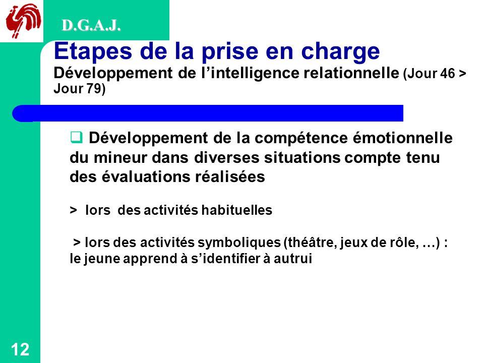 D.G.A.J. Etapes de la prise en charge Développement de l'intelligence relationnelle (Jour 46 > Jour 79)