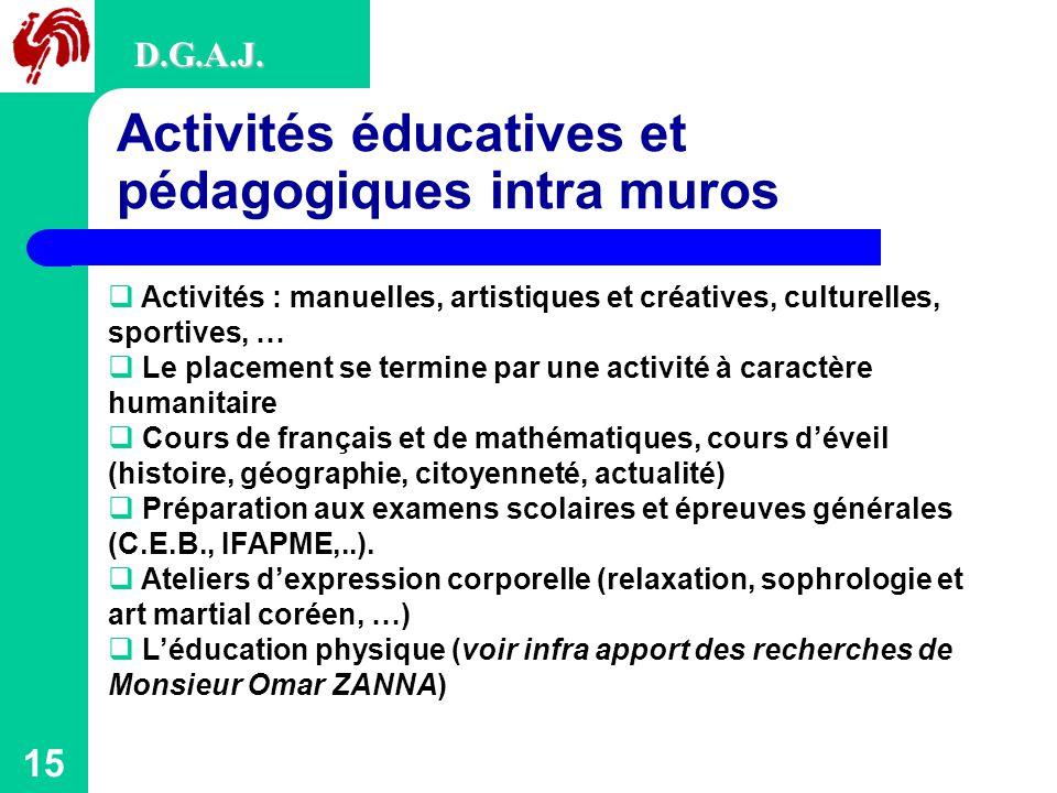 Activités éducatives et pédagogiques intra muros