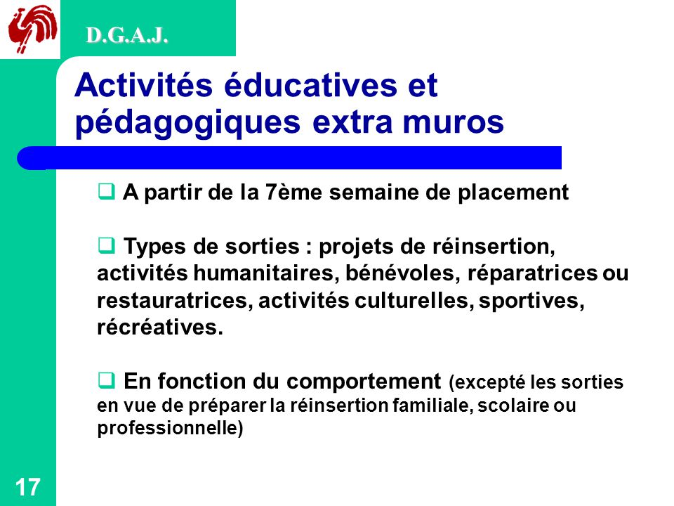 Activités éducatives et pédagogiques extra muros