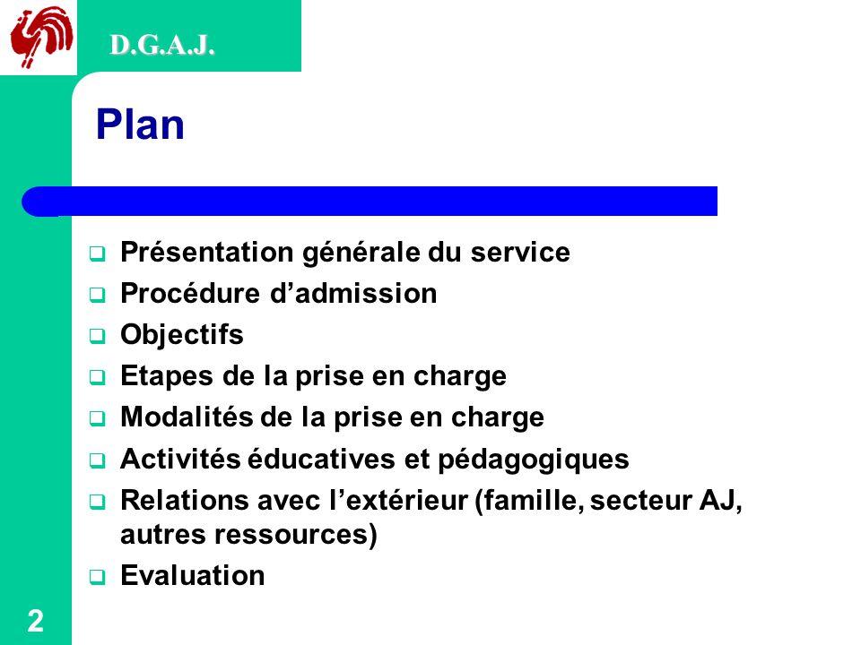 Plan D.G.A.J. Présentation générale du service Procédure d'admission
