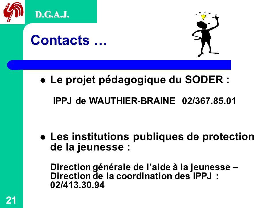 D.G.A.J. D.G.A.J. Contacts … Le projet pédagogique du SODER : IPPJ de WAUTHIER-BRAINE 02/367.85.01.