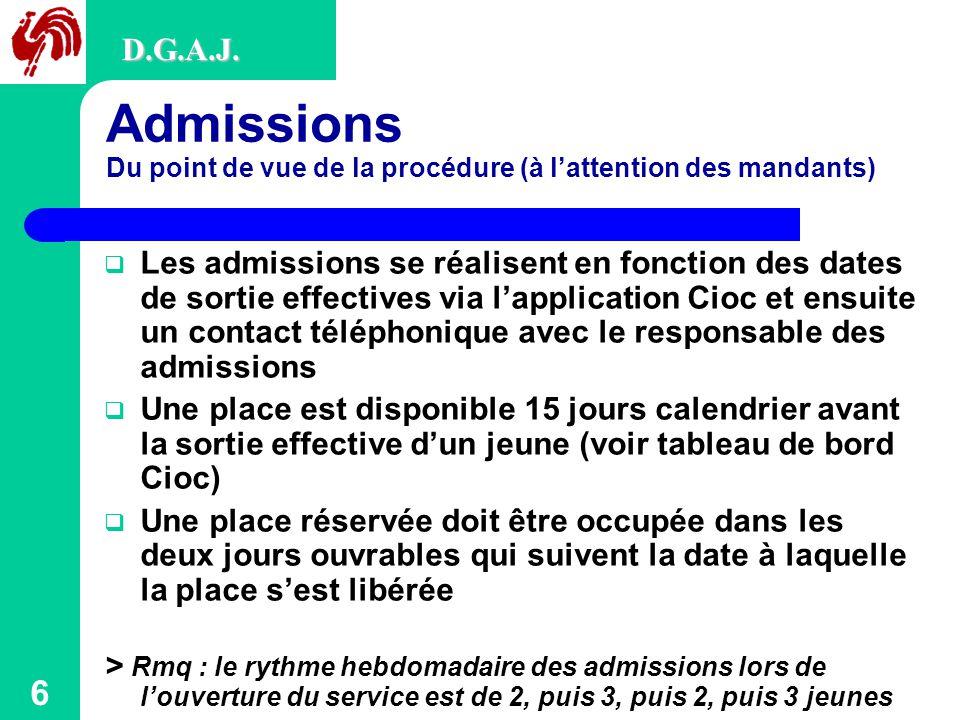 D.G.A.J. Admissions Du point de vue de la procédure (à l'attention des mandants)