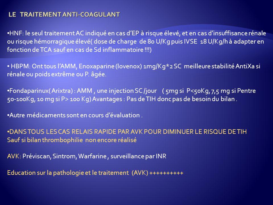 LE TRAITEMENT ANTI-COAGULANT