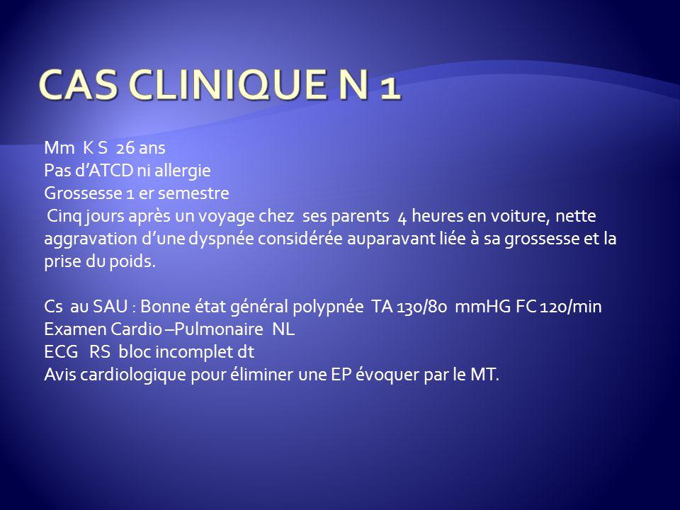 CAS CLINIQUE N 1 Mm K S 26 ans Pas d'ATCD ni allergie
