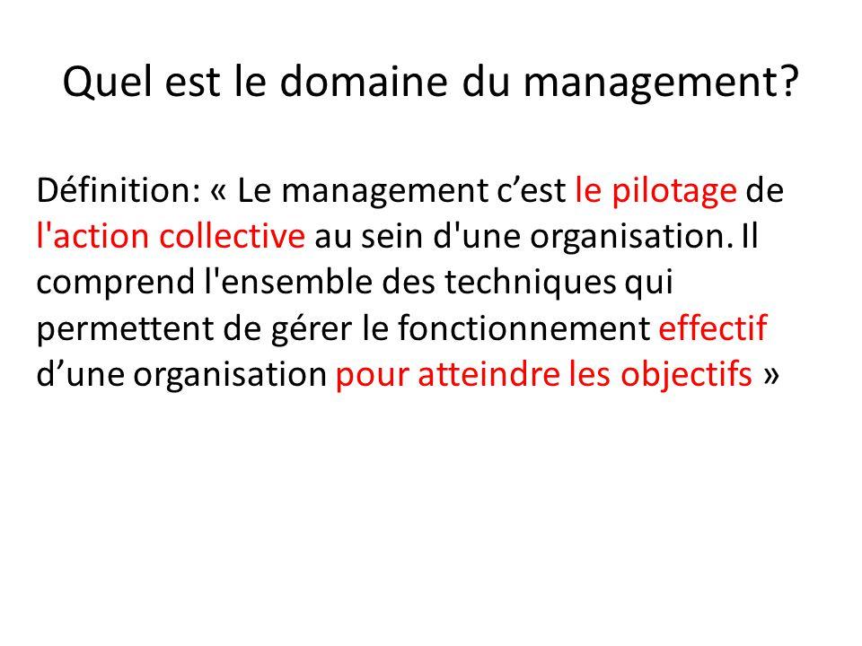 Quel est le domaine du management