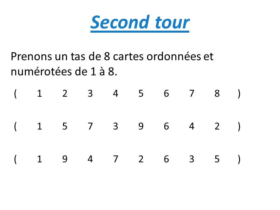 Second tour Prenons un tas de 8 cartes ordonnées et numérotées de 1 à 8.