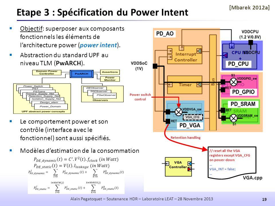Etape 3 : Spécification du Power Intent