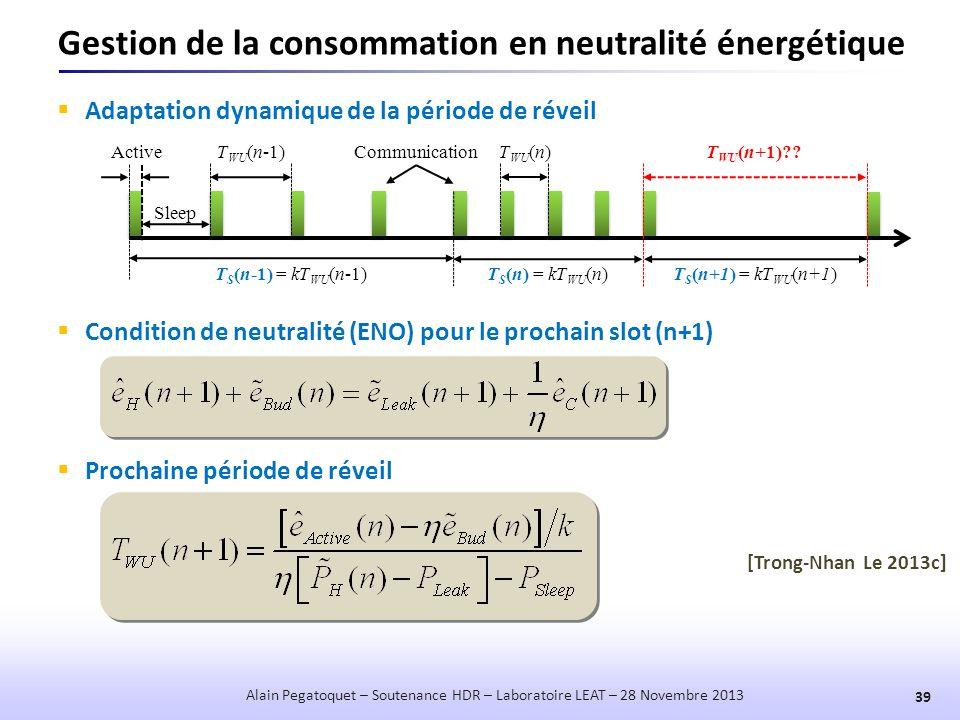 Gestion de la consommation en neutralité énergétique