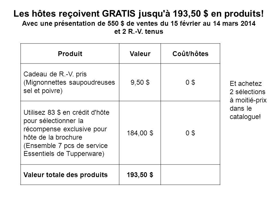 Les hôtes reçoivent GRATIS jusqu à 193,50 $ en produits