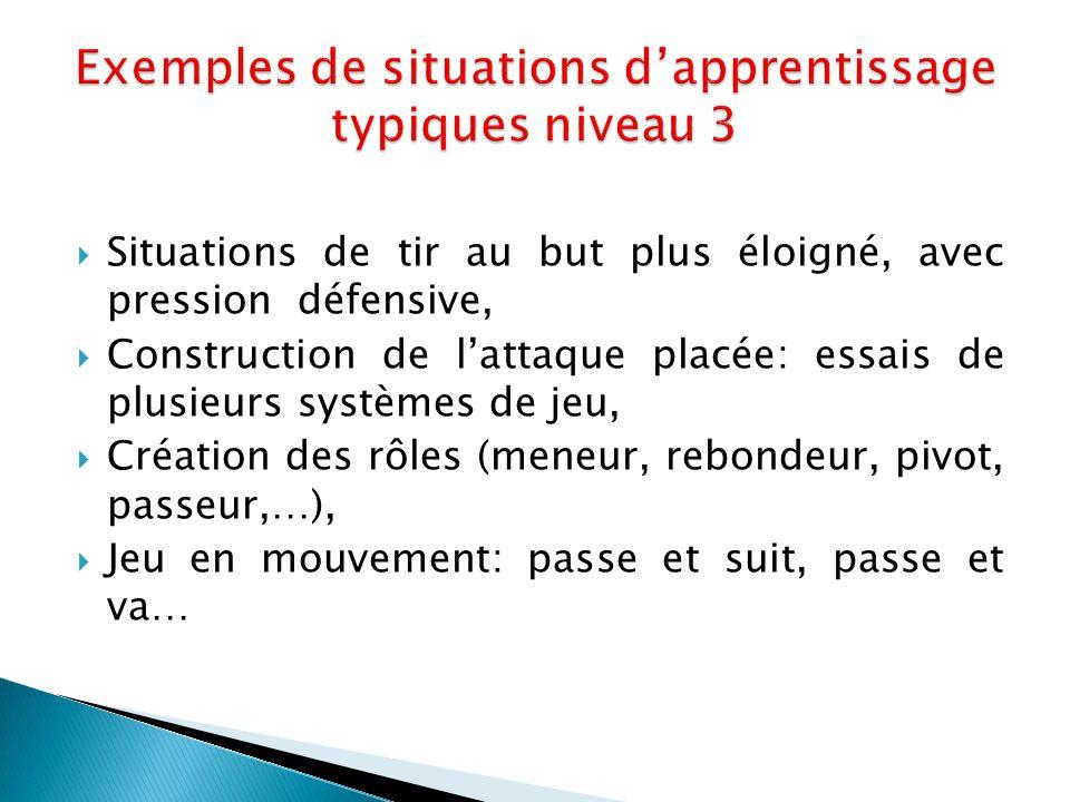 Exemples de situations d'apprentissage typiques niveau 3