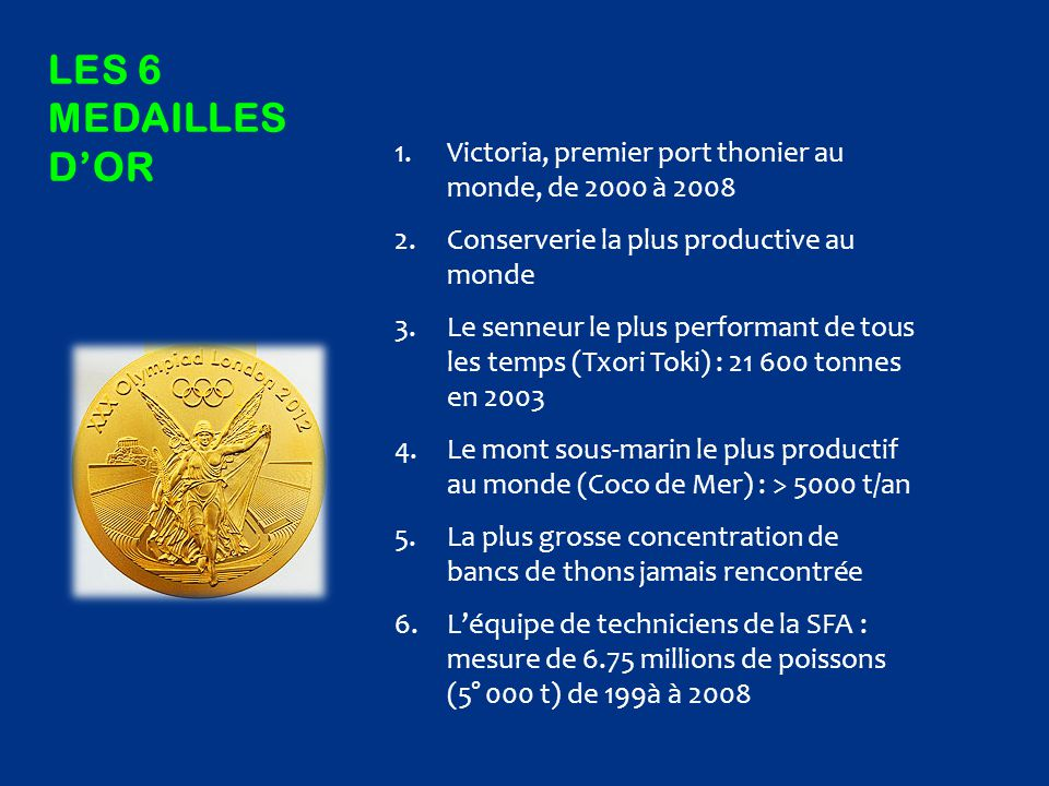Les 6 MedaIlles d'or Victoria, premier port thonier au monde, de 2000 à 2008. Conserverie la plus productive au monde.