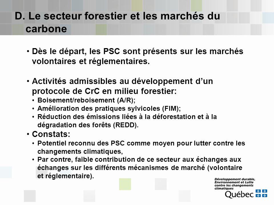 D. Le secteur forestier et les marchés du carbone