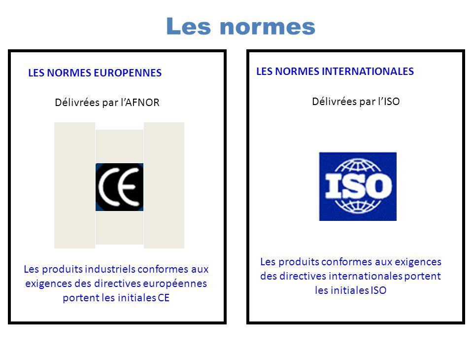 Les normes LES NORMES EUROPENNES LES NORMES INTERNATIONALES