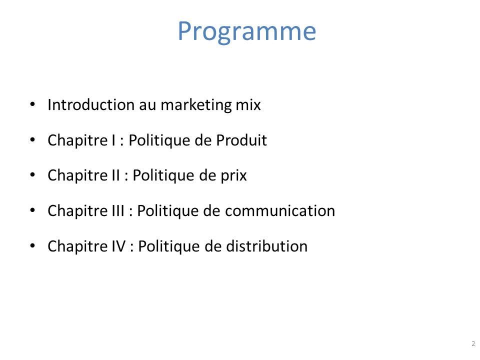 Programme Introduction au marketing mix