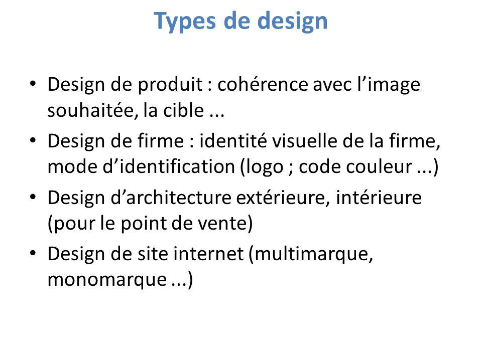 Types de design Design de produit : cohérence avec l'image souhaitée, la cible ...