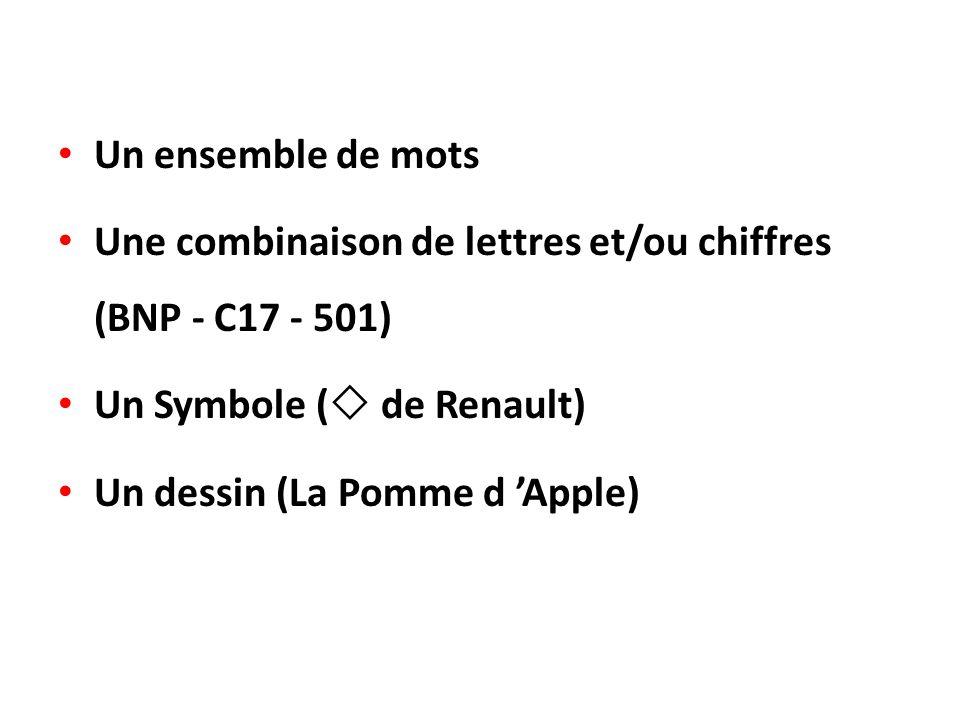 Un ensemble de mots Une combinaison de lettres et/ou chiffres (BNP - C17 - 501) Un Symbole ( de Renault)