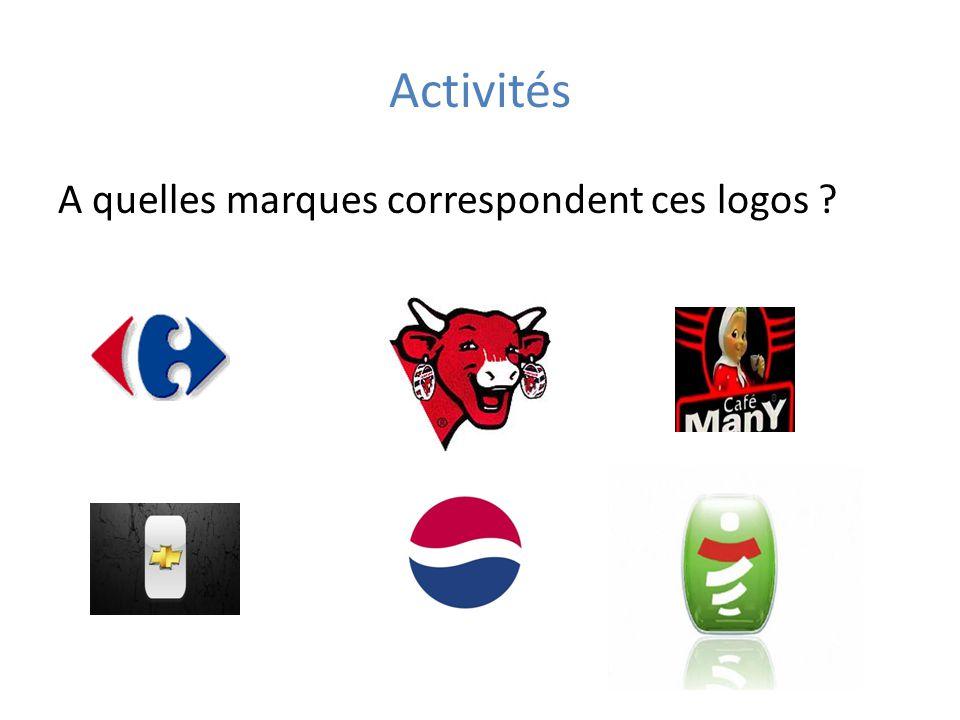 Activités A quelles marques correspondent ces logos