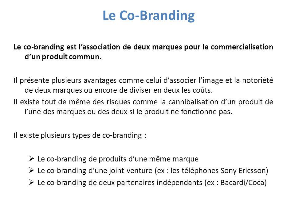 Le Co-Branding Le co-branding est l'association de deux marques pour la commercialisation d'un produit commun.