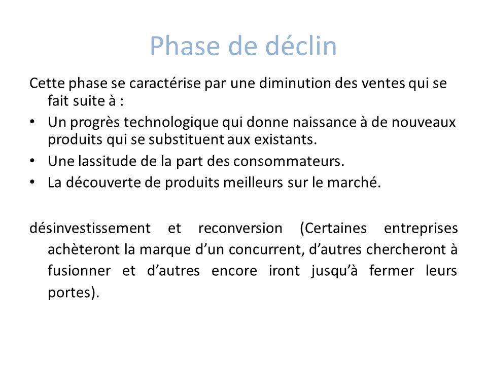 Phase de déclin Cette phase se caractérise par une diminution des ventes qui se fait suite à :