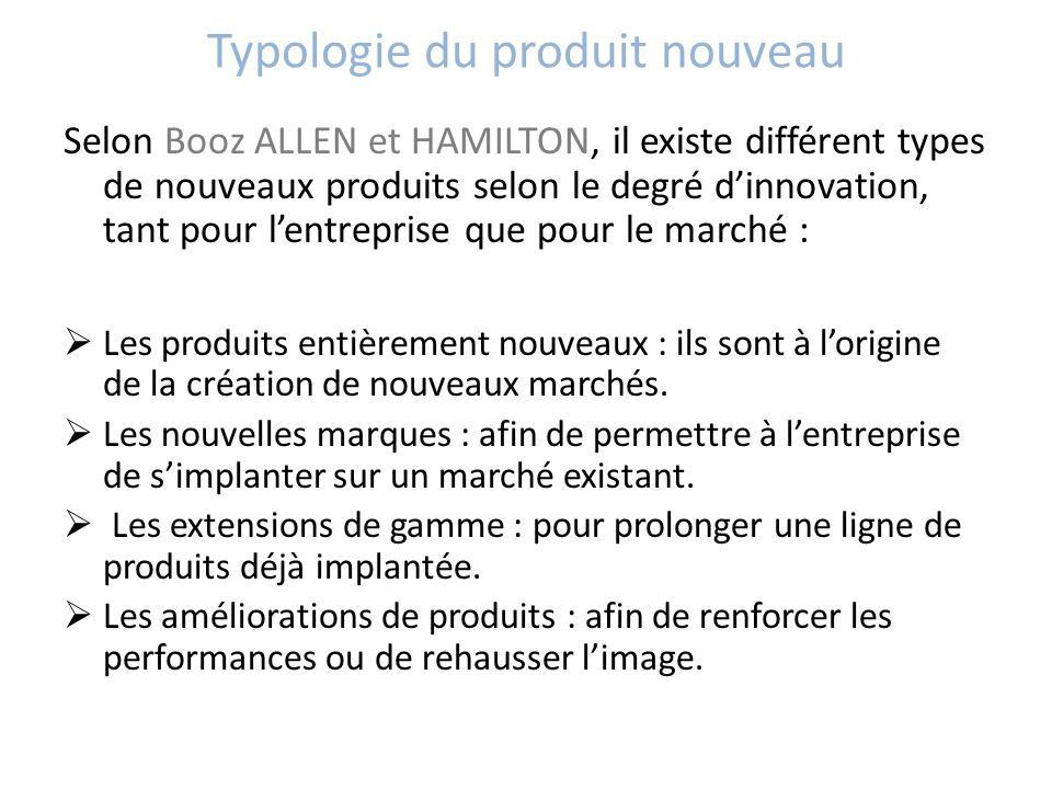 Typologie du produit nouveau