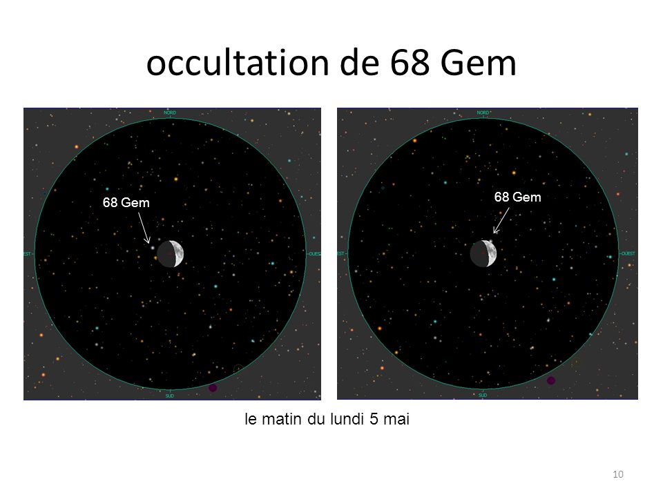 occultation de 68 Gem 104 Tau 104 Tau Dabih Dabih