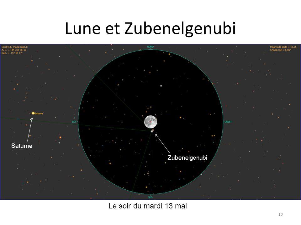 Lune et Zubenelgenubi Saturne Zubenelgenubi Le soir du mardi 13 mai