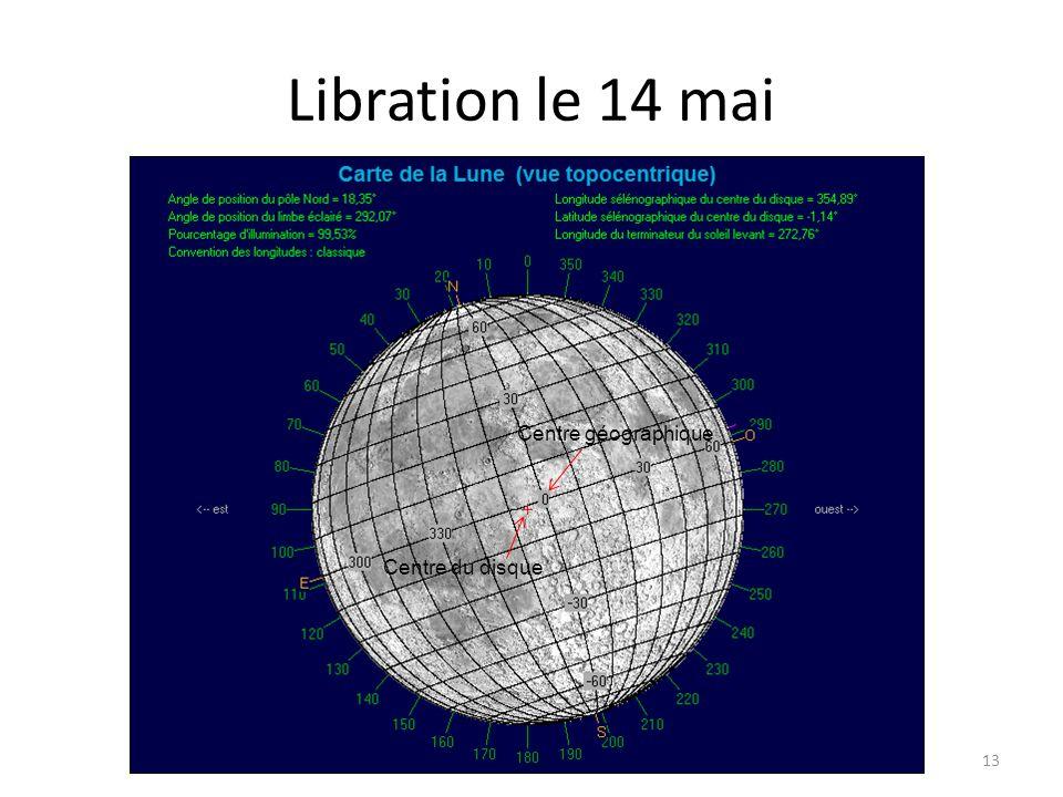 Libration le 14 mai Centre géographique Centre du disque nord sud-est