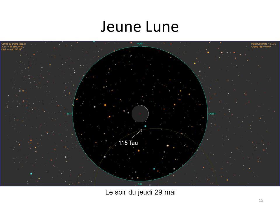 Jeune Lune 115 Tau Le soir du jeudi 29 mai