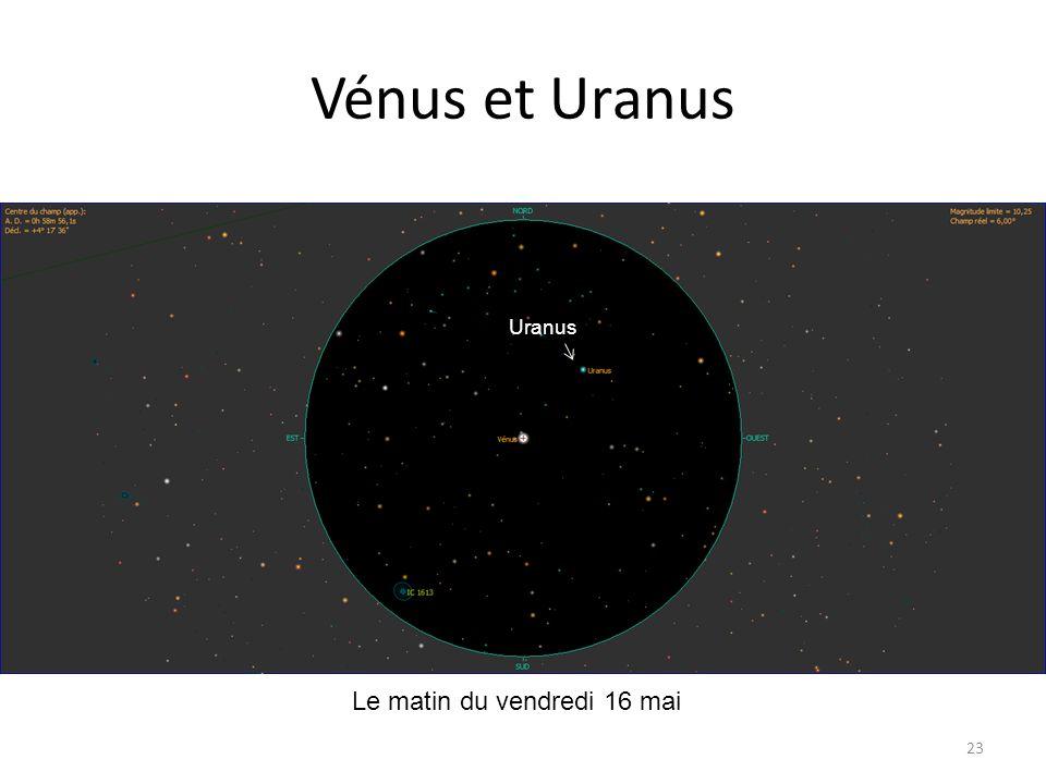 Vénus et Uranus Uranus Le matin du vendredi 16 mai
