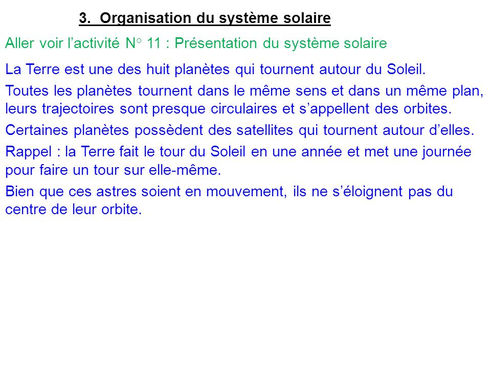 3. Organisation du système solaire