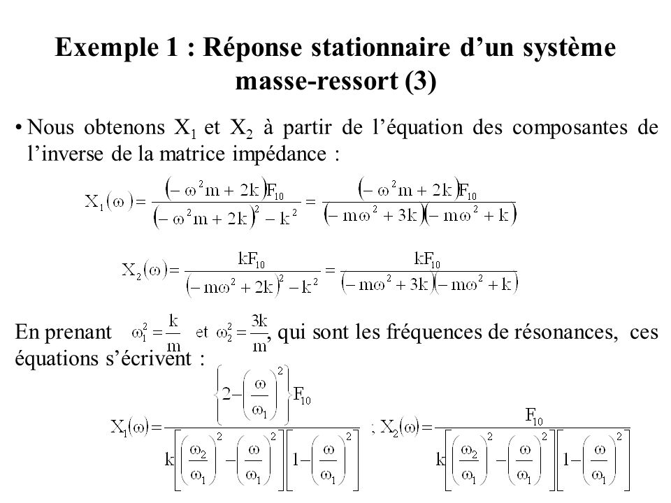 Exemple 1 : Réponse stationnaire d'un système masse-ressort (3)