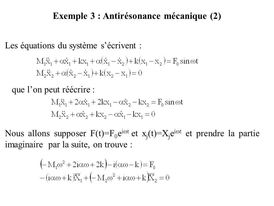 Exemple 3 : Antirésonance mécanique (2)