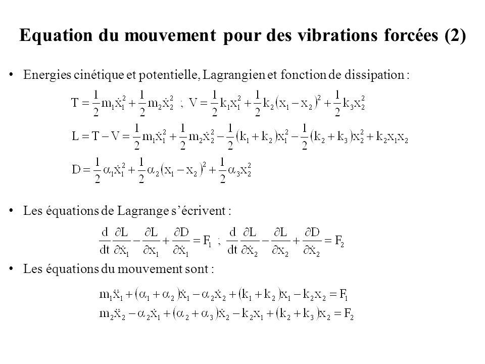 Equation du mouvement pour des vibrations forcées (2)