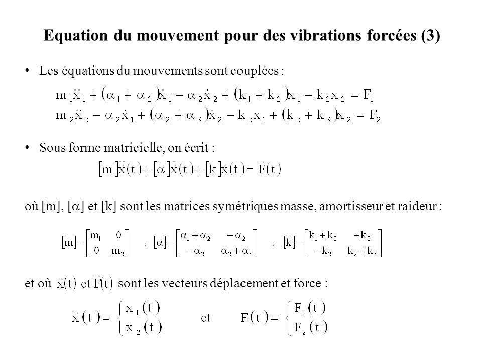 Equation du mouvement pour des vibrations forcées (3)