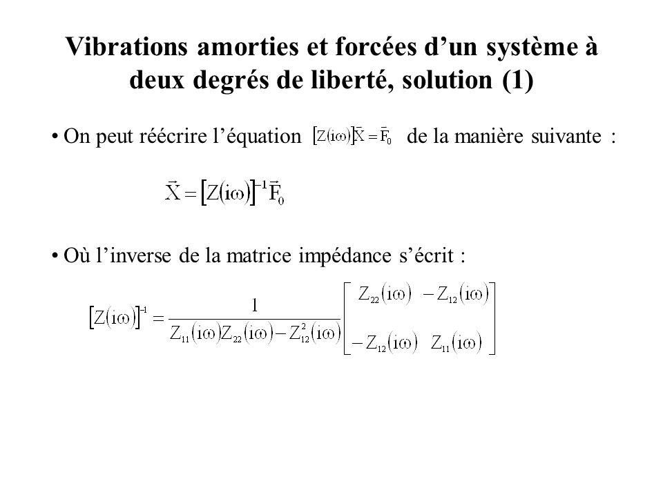 Vibrations amorties et forcées d'un système à deux degrés de liberté, solution (1)