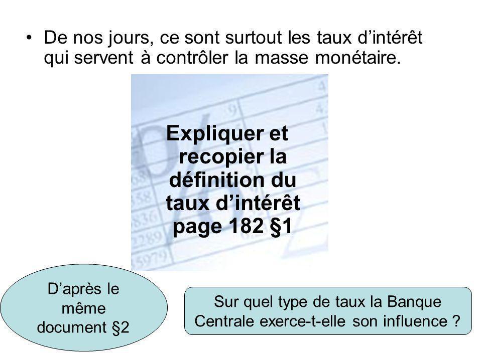Expliquer et recopier la définition du taux d'intérêt page 182 §1