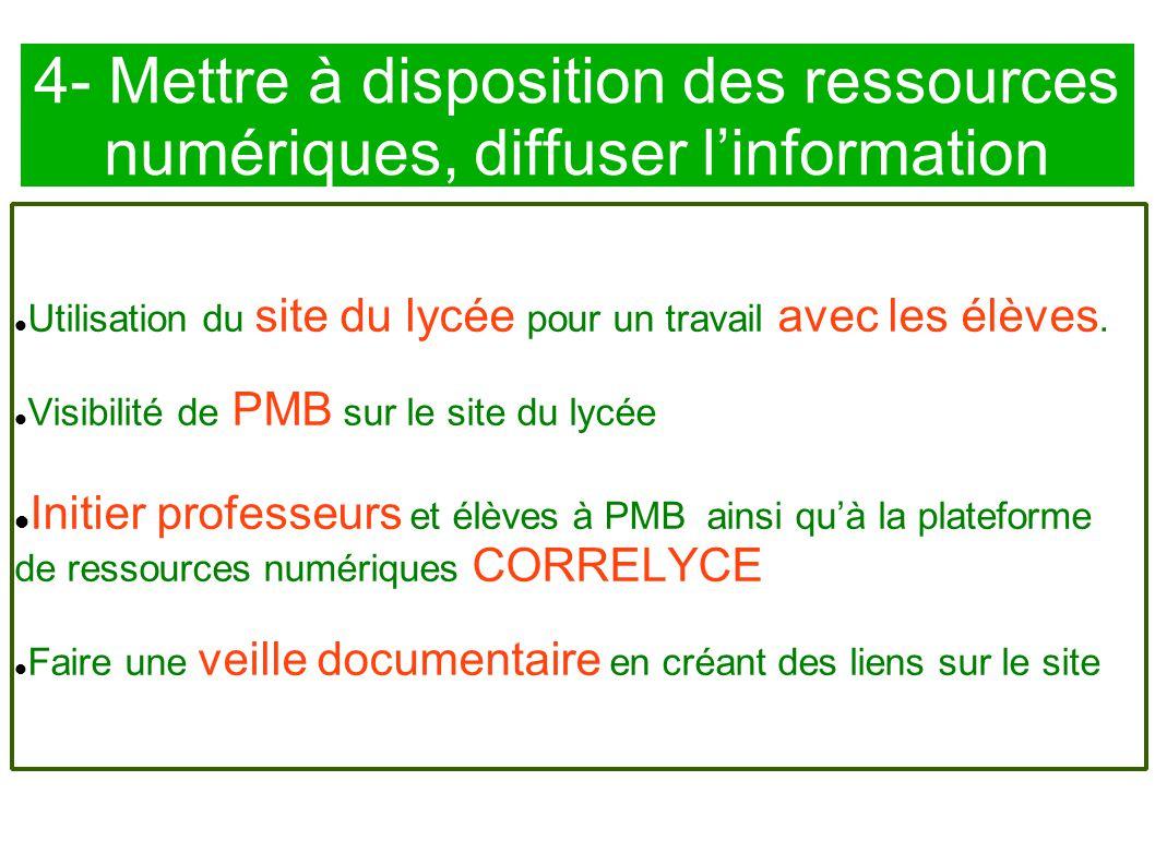 4- Mettre à disposition des ressources numériques, diffuser l'information