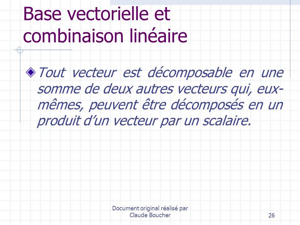 Base vectorielle et combinaison linéaire