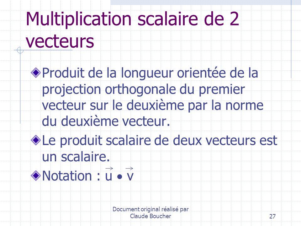 Multiplication scalaire de 2 vecteurs