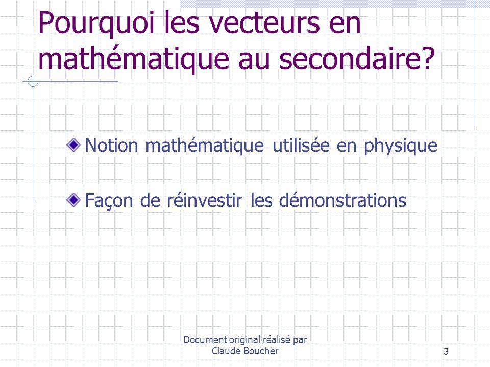 Pourquoi les vecteurs en mathématique au secondaire