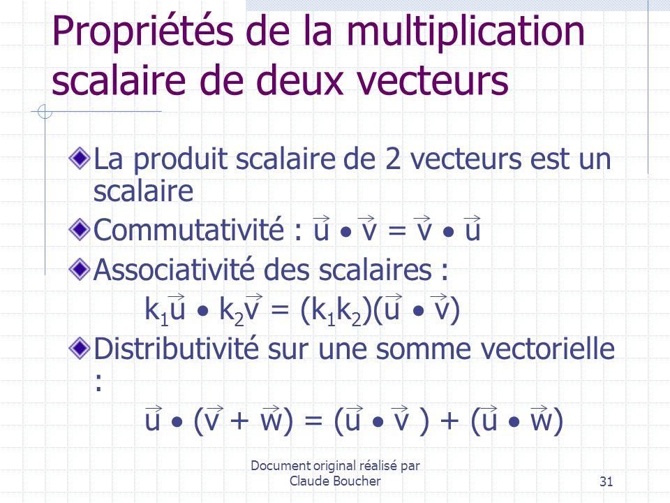 Propriétés de la multiplication scalaire de deux vecteurs