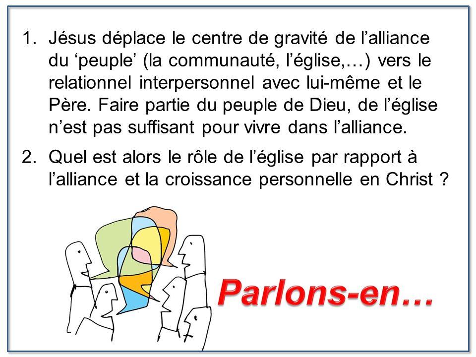 Jésus déplace le centre de gravité de l'alliance du 'peuple' (la communauté, l'église,…) vers le relationnel interpersonnel avec lui-même et le Père. Faire partie du peuple de Dieu, de l'église n'est pas suffisant pour vivre dans l'alliance.