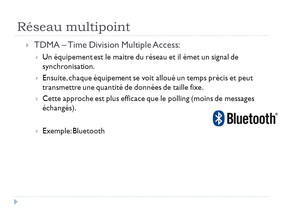 Réseau multipoint TDMA – Time Division Multiple Access: