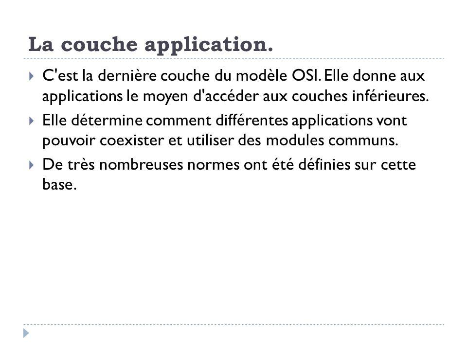 La couche application. C est la dernière couche du modèle OSI. Elle donne aux applications le moyen d accéder aux couches inférieures.