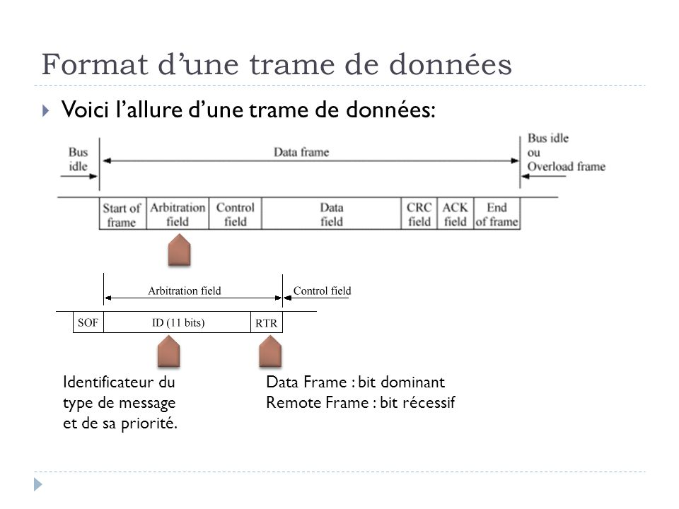 Format d'une trame de données
